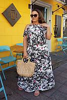 Платье женское длинное из штапеля на брителях с разрезом и карманами (К28086), фото 1