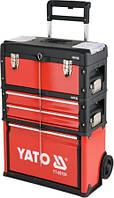 Ящик-тележка с инструментами 3 секции на 2-х колесах с выдвижной ручкой YATO, 78 предм.