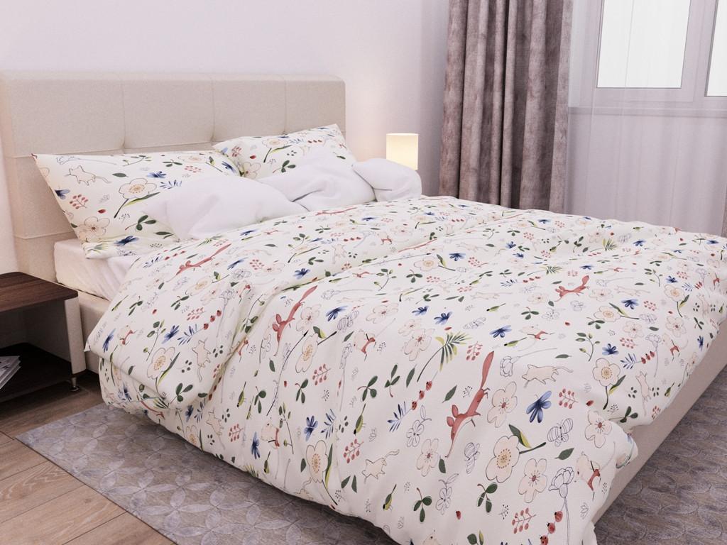 Евро комплект постельного белья 198х215  «Милые Лисички» из бязи голд