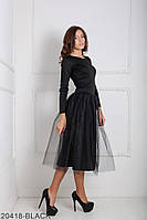 Ошатне плаття з рукавом три чверті і фатином на спідниці Lashes