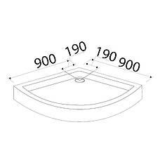 FIESTA поддон мелкий полукруглый 90*90*15 см, фото 2