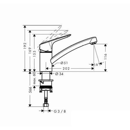 MySport S Смеситель для кухни, однорычажный (steel optic), фото 2