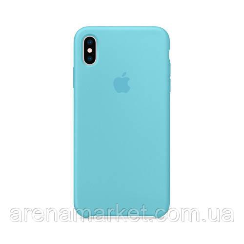 Чехол для iPhone X/Xs Silicone Case (Лучшая копия Apple) - голубой