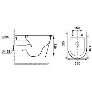 Комплект: FIESTA RIM унитаз подвесной, сиденье SLIM+Комплект инсталляции Volle Master 4в1( белая клавиша), фото 2