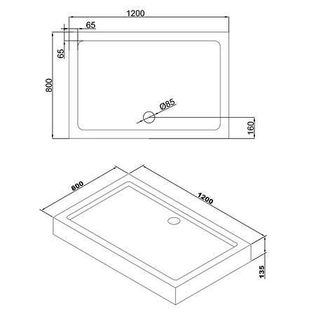 LIBRA душевой поддон 1200*800*135 мм в комплекте с сифоном, фото 2
