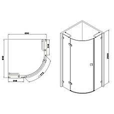De la Noche Душевая кабина угловая 900*900*2000мм (стекла+двери), левая, распашная, стекло прозрачное 8мм с Nano покрытием, фото 2