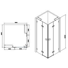 De la Noche Душевая кабина квадратная 900*900*2000мм (стекла+двери), распашные двери, стекло прозрачное 8мм с  Nano покрытием, фото 2