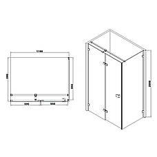 De la Noche Душевая кабина 1200*900*2000мм (стекла+двери)левая, распашная, стекло прозрачное 8мм с Nano покрытием, фото 2