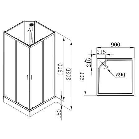 SOLAR душевой бокс квадратный без крыши 90*90*205см в комплекте с мелким поддоном,профиль хром, стекло прозрачное 6мм, фото 2