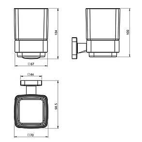 TEO стакан матовое стекло, крепление к стене, хром, фото 2