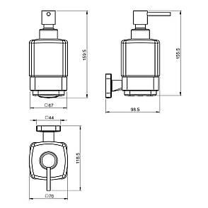 TEO диспенсер матовое стекло, крепление к стене, хром, фото 2