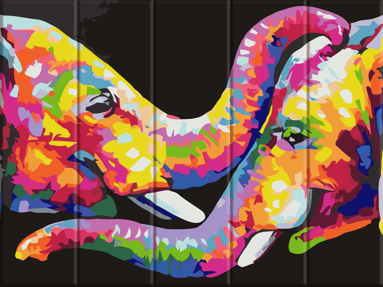 Раскрас по номерам на дереве Разноцветные слоны ArtStory ASW054 30 х 40 см