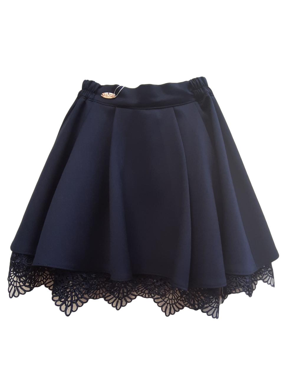 Школьная юбка с кружевом и подкладкой