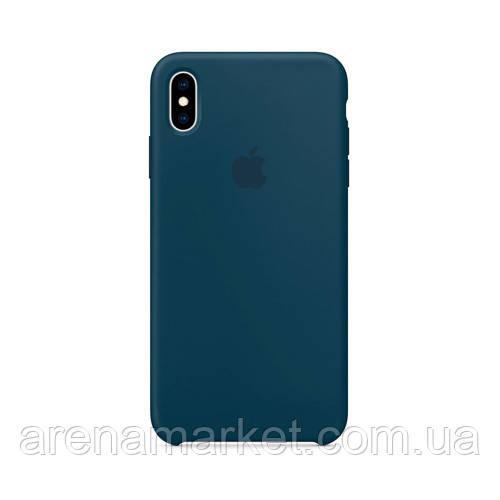 Чехол для iPhone X/Xs Silicone Case (Лучшая копия Apple) - темно-синий