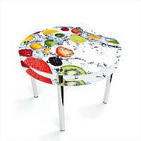 Стол кухонный стеклянный Круглый с проходящей полкой Fruit Shake 70х70 *Эко (БЦ-стол ТМ)