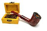 Необычная трубка для курения из бриара прямая формы Billiard рустированная, фото 2