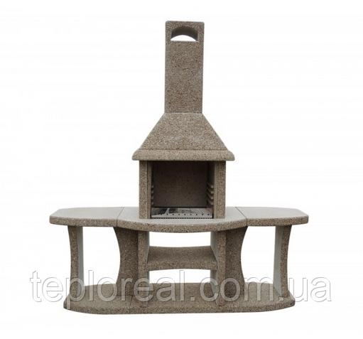 """Уличный камин-барбекю """"Каир"""" с двумя столами"""