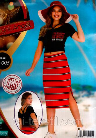 Комплект юбка и топик хлопок с лайкра Night Angel №005, фото 2