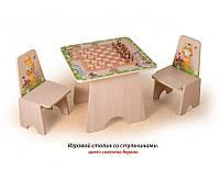 """Игровой столик """"Шахматы"""" + 2 стульчика с фотопечатью"""