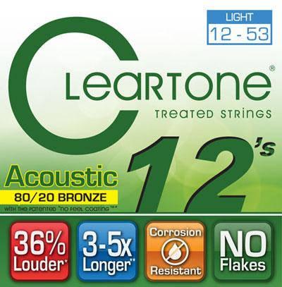 Струны для акустической гитары CLEARTONE 7612 ACOUSTIC 80/20 BRONZE LIGHT 12-53, фото 2