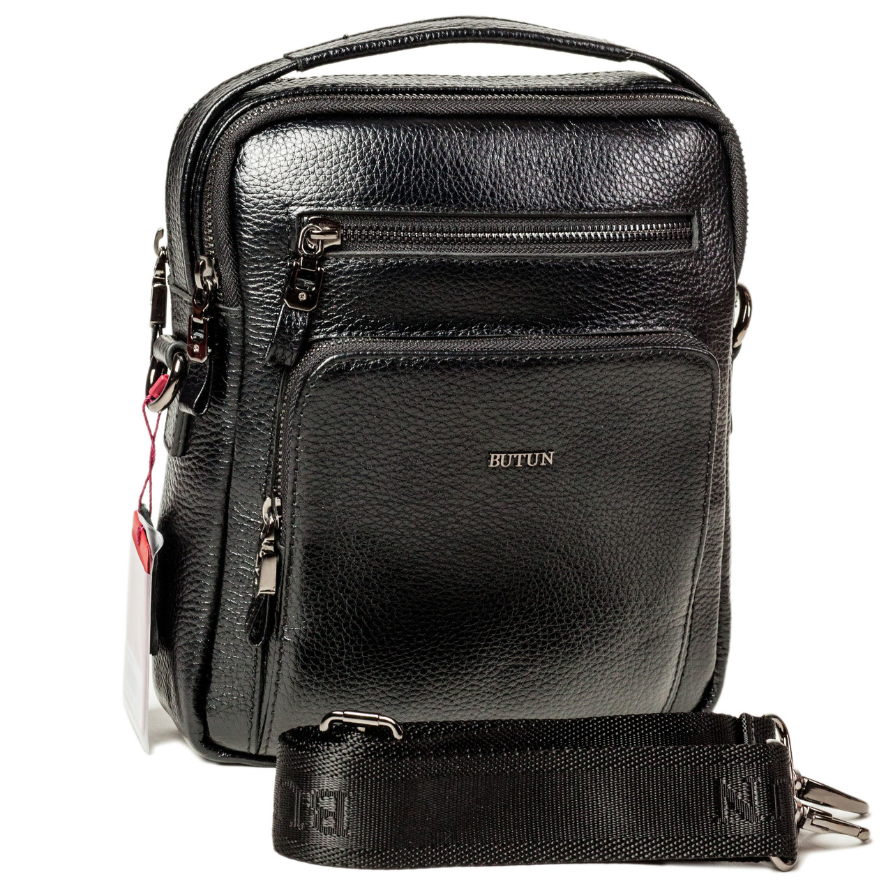 Мужская сумка барсетка Butun 415-004-001 черная из натуральной кожи