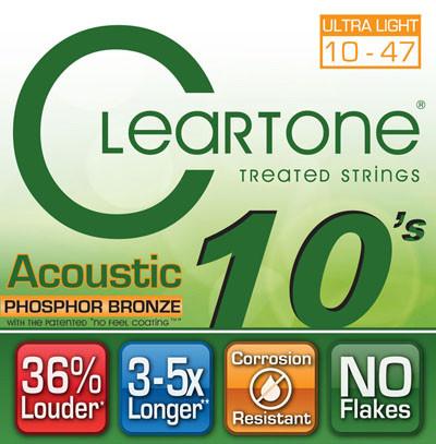 Струны для акустической гитары CLEARTONE 7410 ACOUSTIC PHOSPHOR BRONZE ULTRA LIGHT 10-47