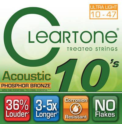 Струны для акустической гитары CLEARTONE 7410 ACOUSTIC PHOSPHOR BRONZE ULTRA LIGHT 10-47, фото 2