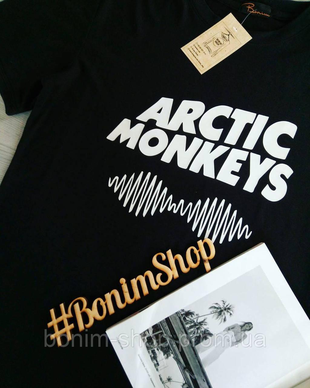 Черная женская футболка с принтом Arctic Monkeys