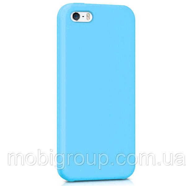 Чехол силиконовый матовый для iPhone SE/5S/5, голубой