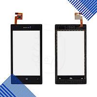 Тачскрин Nokia 520, 525 Lumia, цвет черный, с передней панелью