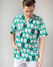 Медицинский мужской костюм Гранит принт мишки зелёный-белый
