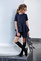 Школьная форма костюм на девочку шорты и блузка кофта с кружевом коротким рукавом тёмно-синий 134 140 146 152, фото 1