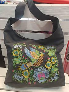 Женская сумка Жарптица с вышивкой темно-синяя