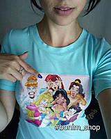Мятная женская футболка c цветным принтом Bad Disney, фото 2