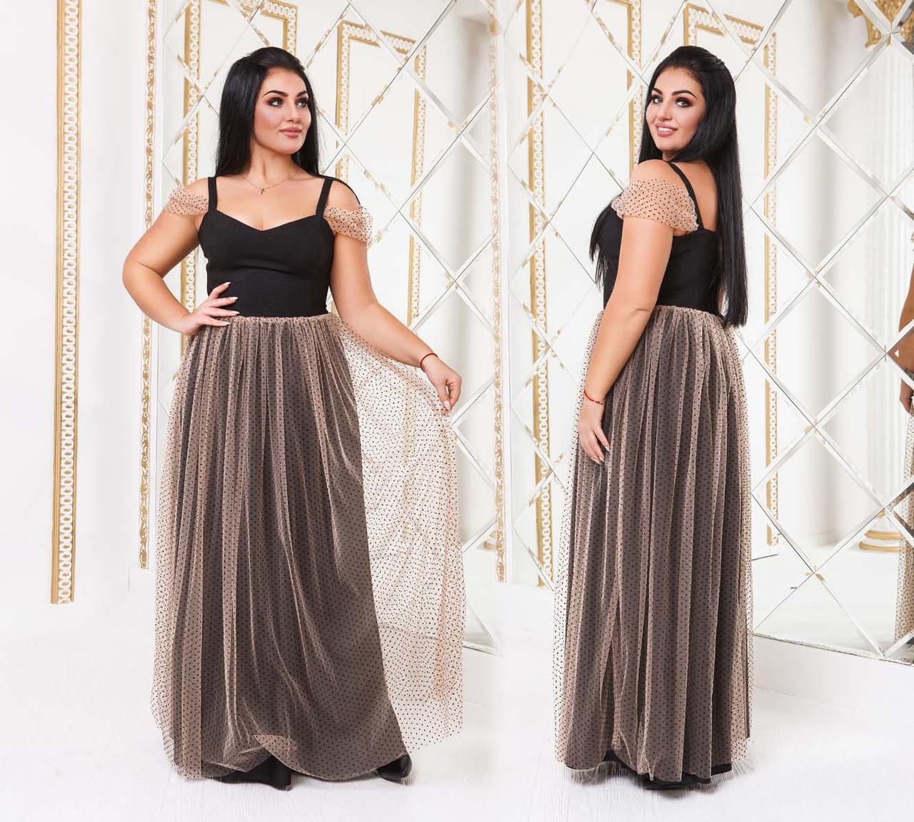 """Женское вечернее платье в больших размерах """"Бюстье Дубаи Сетка Горошек Макси"""" в расцветках (DG-р41192)"""