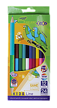 Карандаши цветные 24цв 12шт Double KIDS Line ZiBi