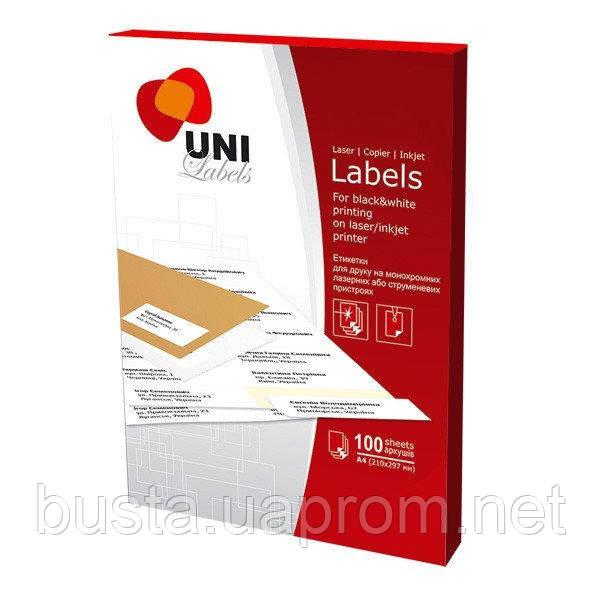 Самоклеящиеся этикетки UNI 12 на листе
