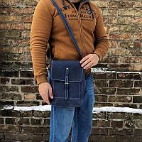 Мужская синяя кожаная сумка ручной работы (шкіряна сумка) миди: 22*30*5 см, фото 1