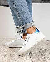 Кеды на шнуровке  с синей отделкой на пятке, фото 1