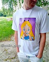 Женская белая футболка с цветным принтом Bad Princess, фото 2