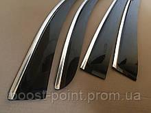 Дефлекторы окон (ветровики) с хром полосой (кантом-молдингом) Renault Sandero Stepway (рено сандеро степвей 20