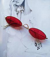 Солнцезащитные очки узкие овальные красные