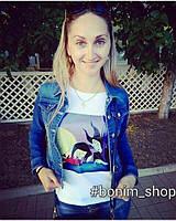 Белая футболка с цветным принтом Bad Disney женская, фото 2