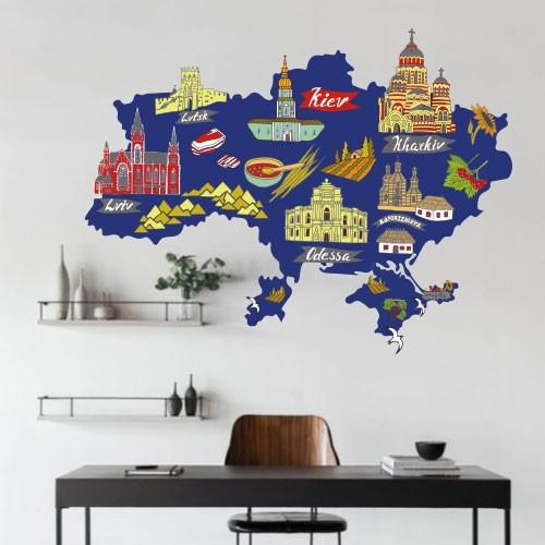 Яркая карта Украины с достопримечательностями и городами для школы, для оформления класса, самоклеющаяся