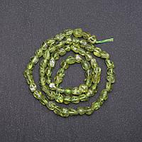 Бусины Хризолит галтовка d-6(+-)мм нитка L-38см