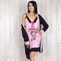 """Комплект двойка женский: халат и ночная рубашка """"Котики"""" Pamuk (Турция) pmk7667"""