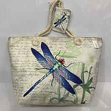 Женская пляжная сумка тканьевая с ярким принтом 58*39 см + кошелек на молнии в тон сумки