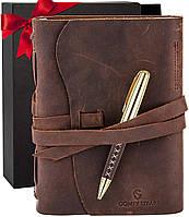 Кожаный блокнот ежедневник коричневый с ручкой 17.6*13.5 см