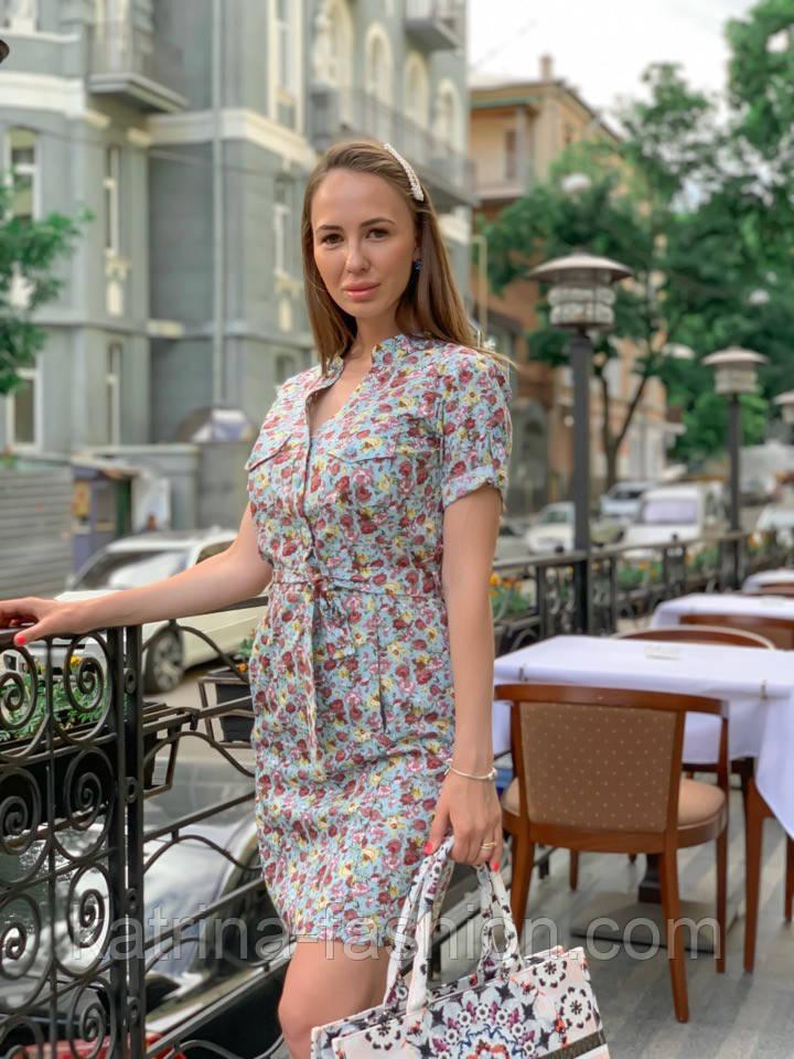Женское платье с поясом (в расцветках)