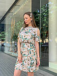 Женское платье с поясом и открытыми плечами (в расцветках), фото 8